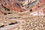 Dry river bed with mountains in the Ounila Valley, Morocco.