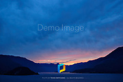 A view overlooking Lake Como in Italy during sunset.