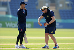 Glamorgan Coach Robert Corft gives advice to Captain Jacques Rudolph - Photo mandatory by-line: Harry Trump/JMP - Mobile: 07966 386802 - 21/04/15 - SPORT - CRICKET - LVCC County Championship - Division 2 - Day 3 - Glamorgan v Surrey - Swalec Stadium, Cardiff, Wales.
