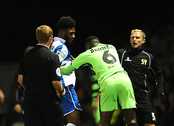 Forest Green Rovers's Dale Bennett pushes Bristol Rovers' Ellis Harrison - Photo mandatory by-line: Dougie Allward/JMP - Mobile: 07966 386802 - 29/04/2015 - SPORT - Football - Nailsworth - The New Lawn - Forest Green Rovers v Bristol Rovers - Vanarama Football Conference