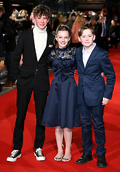 Finn Elliot (left), Eleanor Stagg and Kit Connor attending the Mercy premiere at the Curzon Mayfair cinema, London