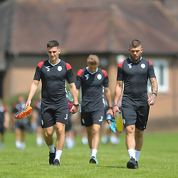 Ross White, Henry Cowans and Shane Sutton head out as AFC Telford United return to pre-season training at Lilleshall National Sports Centre on Saturday, June 29, 2019.<br /> <br /> Free for editorial use only<br /> Picture credit: Mike Sheridan/Ultrapress<br /> <br /> MS201920-003