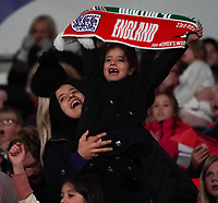 England fans celebrate their teams goal <br /> <br /> Photographer Stephanie Meek/CameraSport<br /> <br /> FIFA Women's World Cup Qualifying Group D - England Women v Northern Ireland Women - Saturday 23rd October 2021 - Wembley Stadium - London<br /> <br /> World Copyright © 2021 CameraSport. All rights reserved. 43 Linden Ave. Countesthorpe. Leicester. England. LE8 5PG - Tel: +44 (0) 116 277 4147 - admin@camerasport.com - www.camerasport.com