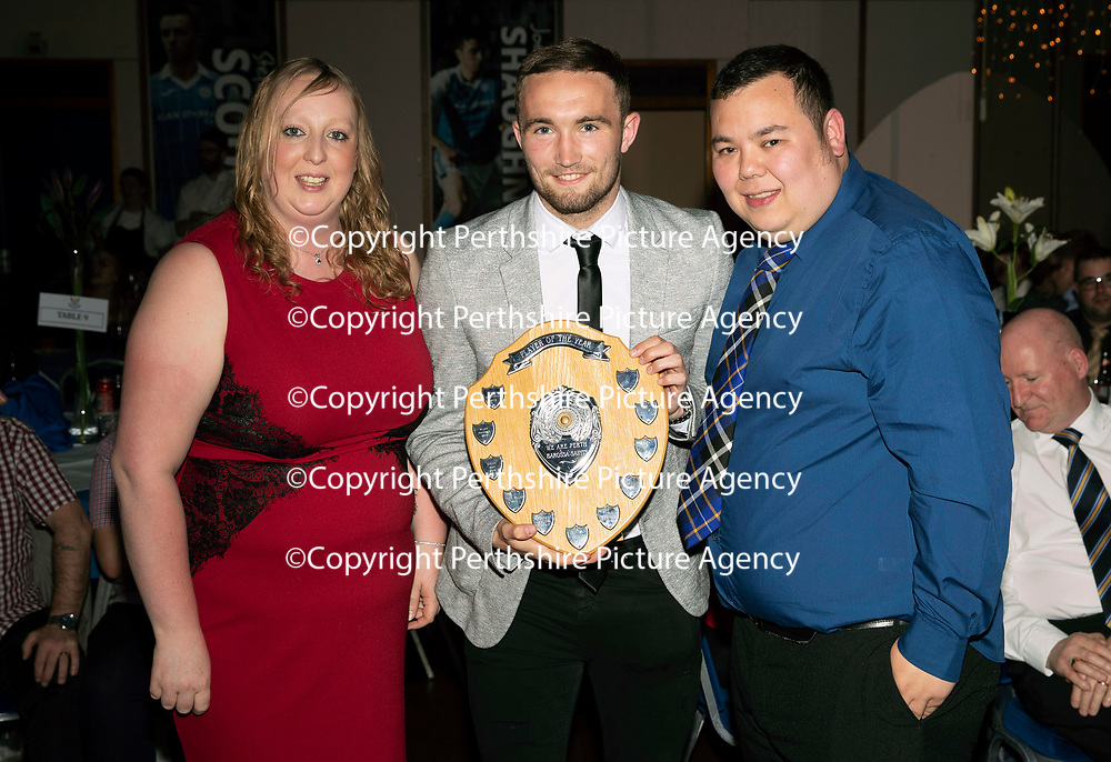 St Johnstone FC Player of the Year Awards 2017-18<br />Barossa Street Supporters Club Player of the Year is Chris Kane presented by Laura Coull and Dan Shek<br />Picture by Graeme Hart.<br />Copyright Perthshire Picture Agency<br />Tel: 01738 623350  Mobile: 07990 594431