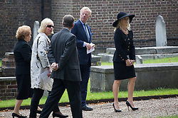 © licensed to London News Pictures. London, UK 28/09/2013. Members of the Thatcher family and Chelsea Pensioners attending a short church service which is followed by the internment of Margaret Thatcher's ashes and placing of the headstone within the grounds of the Royal Hospital. Photo credit: Tolga Akmen/LNP
