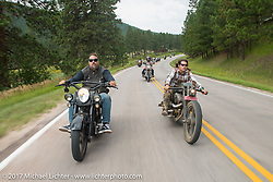 Randy Noldge and Brad Gregory on the Aidan's Ride to raise money for the Aiden Jack Seeger nonprofit foundation to help raise awareness and find a cure for ALD (Adrenoleukodystrophy) during the annual Sturgis Black Hills Motorcycle Rally. Riding between Nemo and Rapid City, SD, USA. Tuesday August 8, 2017. Photography ©2017 Michael Lichter.