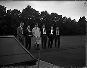 06/09/1958<br /> 09/06/1958<br /> 06 September 1958<br /> Cricket M.C.C. v Ireland International at College Park, Dublin, Centenary Match. Some of the players view the grounds.