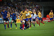 Valentin Ursache (Romania) breaking through the French midfield during the Rugby World Cup Pool D match between France and Romania at the Queen Elizabeth II Olympic Park, London, United Kingdom on 23 September 2015. Photo by Matthew Redman.