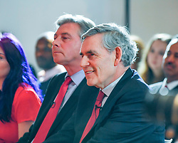 Pictured: Gordon Brown and Richard Leonard at the rally.<br /> <br /> Former Prime Minister Gordon Brown joined Scottish Labour leader Richard Leonard and candidates at a campaign rally in Glasgow.<br /> <br /> © Dave Johnston / EEm