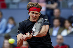May 13, 2018 - Madrid, Madrid, Spain - Alexander Zverev of Germany in action in his final match against Dominic Thiem of Austria during day nine of the Mutua Madrid Open tennis tournament at the Caja Magica on May 13, 2018 in Madrid, Spain  (Credit Image: © David Aliaga/NurPhoto via ZUMA Press)
