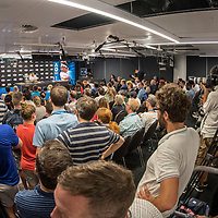 Roger Federer of Switzerland during his post match press conference after winning the 2018 Australian Open on day 14 in Melbourne, Australia on Sunday afternoon January 28, 2018.<br /> (Ben Solomon/Tennis Australia)