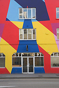 The colourful Tara Building on 02 April 2017 in Dublin, Republic of Ireland. The Tara Building is a community hub for professional individuals and organisations located in central Dublin. Dublin is the largest city and capital of the Republic of Ireland, it's on Ireland's east coast at the mouth of the River Liffey.