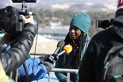 February 12, 2018 - Pyeongchang, KOREA - Simidele Adeagbo (NGR) at the ladies skeleton training during the Pyeongchang 2018 Olympic Winter Games. (Credit Image: © David McIntyre via ZUMA Wire)