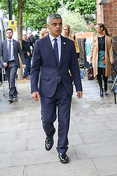 © Licensed to London News Pictures. 14/06/2019. London, UK. London's Mayor Sadiq Khan arrives at St Helen's Church to commemorate the second anniversary of the Grenfell Tower fire. On 14 June 2017, just before 1:00 am a fire broke out in the kitchen of the fourth floor flat at the 24-storey residential tower block in North Kensington, West London, which took the lives of 72 people. More than 70 others were injured and 223 people escaped. Photo credit: Dinendra Haria/LNP