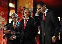 20120227: LISBON, PORTUGAL - SL Benfica 108th anniversary gala at Coliseu dos Recreios in Lisbon, Portugal.<br /> In photo: Jorge Jesus and Ricardo Araujo Pereira.<br /> PHOTO: Alvaro Isidoro/CITYFILES
