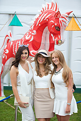 LIVERPOOL, ENGLAND - Friday, April 4, 2014: Sally Evans, Jessie Beake, Hannah Boggan during Ladies' Day on Day Two of the Aintree Grand National Festival at Aintree Racecourse. (Pic by David Rawcliffe/Propaganda)