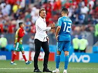 Morocco coach Herve Renard with Monir El Kajoui (Morocco)<br /> Moscow 20-06-2018 Football FIFA World Cup Russia  2018 <br /> Portugal - Morocco / Portogallo - Marocco <br /> Foto Matteo Ciambelli/Insidefoto