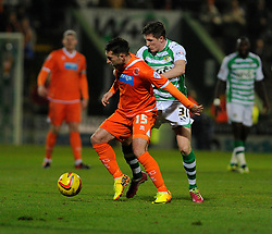 Blackpool's Stephen Dobbie controls the ball under pressure from Yeovil Town's John Lundstram - Photo mandatory by-line: Dougie Allward/JMP - Tel: Mobile: 07966 386802 03/12/2013 - SPORT - Football - Yeovil - Huish Park - Yeovil Town v Blackpool - Sky Bet Championship