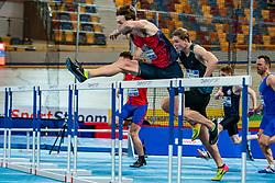 Liam Van der Schaaf in action on the 60 meter hurdles during AA Drink Dutch Athletics Championship Indoor on 21 February 2021 in Apeldoorn.