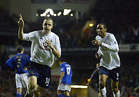 1/1/2005 - FA Barclays Premiership - Tottenham Hotspur v Everton - White Hart Lane<br />Tottenham Hotspur's Dean Marney celebrates the second of his two goals, with team mate Fredi Kanouté<br />Photo:Jed Leicester/Back Page Images
