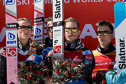 Winners team Norway (Daniel Andre Tande, Andreas Stjernen, Robert Johansson, Johan Andre Forfang) during flower ceremony after Ski Flying Hill Team Competition at Day 3 of FIS Ski Jumping World Cup Final 2018, on March 24, 2018 in Planica, Ratece, Slovenia. Photo by Urban Urbanc / Sportida