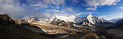 Ama Dablam (r-l), Ombigaichan, Kang Leyamu and Island Peak, as seen from Chhukung Ri, Khumbu (Everest) region, Himalaya Mountains, Nepal.