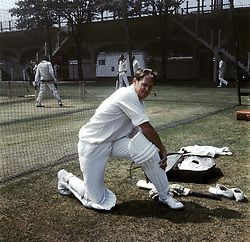 Rest of the World's Graeme Pollock pads up for nets