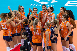 11-10-2018 JPN: World Championship Volleyball Women day 12, Nagoya<br /> Netherlands - Serbia 3-0 / Team NL  and the victory