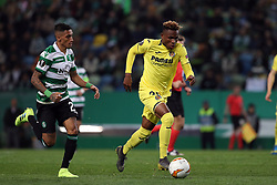 February 14, 2019 - Lisbon, Portugal - Villarreal's forward Samuel Chukwueze (R ) vies with Sporting's forward Raphinha from Brazil during the UEFA Europa League Round of 32 First Leg football match Sporting CP vs Villarreal CF at Alvalade stadium in Lisbon, Portugal on February 14, 2019. (Credit Image: © Pedro Fiuza/NurPhoto via ZUMA Press)