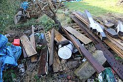 Pile of scrap wood on allotment, Nottingham.