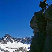 A youngster climbs Mount Robinson in California's John Muir Wilderness.