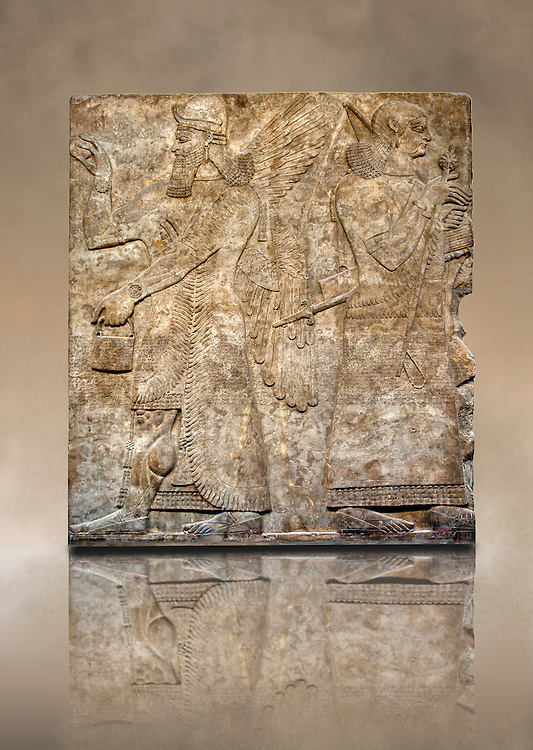 Assyrian relief sculpture panel  of a female protective spirits  from Nimrud, Iraq.  865-860 B.C North West Palace.  British Museum Assyrian  Archaeological exhibit. .<br /> <br /> If you prefer to buy from our ALAMY PHOTO LIBRARY  Collection visit : https://www.alamy.com/portfolio/paul-williams-funkystock/ancient-assyria-antiquities.html  Refine search by adding background colour, place, subject, museum etc into the LOWER SEARCH WITHIN GALLERY box to <br /> <br /> Visit our ANCIENT ASSYRIAN PHOTO COLLECTIONS for more photos to download or buy as wall art prints https://funkystock.photoshelter.com/gallery-collection/Ancient-Assyrian-Art-Artefacts-Antiquities-Historic-Sites-Pictures-Images-of/C0000cjRqQyJjLag