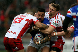 Wakefield Trinity's Tinirau Arona gets tackled during the Betfred Super League match at Belle Vue, Wakefield.