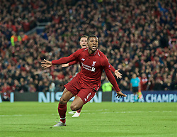 BRITAIN-LIVERPOOL-FOOTBALL-UEFA CHAMPIONS LEAGUE-LIVERPOOL VS FC BARCELONA..(190507) -- LIVERPOOL, May 7, 2019  Liverpool's Georginio Wijnaldum celebrates scoring during the UEFA Champions League Semi-Final second Leg match between Liverpool FC and FC Barcelona at Anfield in Liverpool, Britain on May 7, 2019. Liverpool won 4-3 on aggregate and reached the final. FOR EDITORIAL USE ONLY. NOT FOR SALE FOR MARKETING OR ADVERTISING CAMPAIGNS. NO USE WITH UNAUTHORIZED AUDIO, VIDEO, DATA, FIXTURE LISTS, CLUBLEAGUE LOGOS OR ''LIVE'' SERVICES. ONLINE IN-MATCH USE LIMITED TO 45 IMAGES, NO VIDEO EMULATION. NO USE IN BETTING, GAMES OR SINGLE CLUBLEAGUEPLAYER PUBLICATIONS. (Credit Image: © Xinhua via ZUMA Wire)