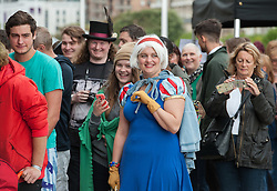 © Licensed to London News Pictures. 21/08/2015. Weston-super-Mare, North Somerset, UK.  The Dismaland show by BANKSY and other artists opens to the public at the old Tropicana on Weston sea front. The first day is exclusively for local people, some of whom queued through the night for a free ticket. Photo credit : Simon Chapman/LNP