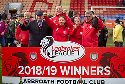 Arbroath's manager Dick Campbell and backroom staff. Brechin City 1 v 1 Arbroath, Scottish Football League Division One played 13/4/2019 at Brechin City's home ground Glebe Park. Arbroath win promotion.