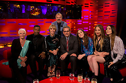 (Left-right) Judi Dench, Jamie Foxx, Kristen Wiig, Graham Norton, Steve Carrell and American rock band Haim during filming of the Graham Norton Show at the London Studios, to be aired on BBC One on Friday evening.
