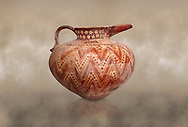 Minoan bridge souted jug with complex zig-zag decoration,  Sklavakambos 1500-1450 BC,  Heraklion Archaeological  Museum. .<br /> <br /> If you prefer to buy from our ALAMY PHOTO LIBRARY  Collection visit : https://www.alamy.com/portfolio/paul-williams-funkystock/minoan-art-artefacts.html . Type -   Heraklion   - into the LOWER SEARCH WITHIN GALLERY box. Refine search by adding background colour, place, museum etc<br /> <br /> Visit our MINOAN ART PHOTO COLLECTIONS for more photos to download  as wall art prints https://funkystock.photoshelter.com/gallery-collection/Ancient-Minoans-Art-Artefacts-Antiquities-Historic-Places-Pictures-Images-of/C0000ricT2SU_M9w