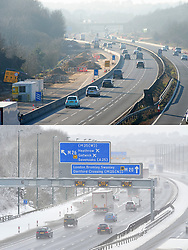 Licensed to London News Pictures. <br /> Comparison picture showing sunny and clear driving conditions on the M20 at Trottiscliffe, Kent today, 25/02/2019 (TOP) compared to the same landscape covered in snow last year on 27/02/2018 (BOTTOM). Photo credit: Grant Falvey/LNP
