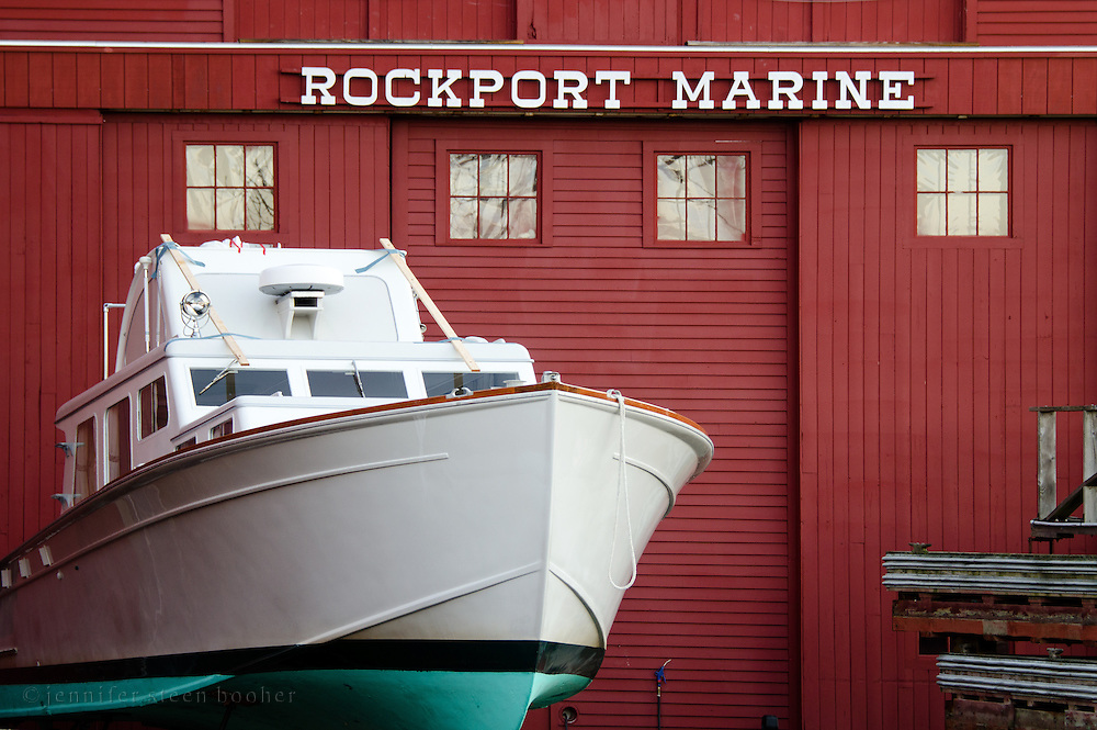 Preparing a boat for winter, Rockport, Maine