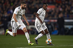 February 6, 2019 - Barcelona, Barcelona, Spain - Vinicius Junior and Karim Benzema of Real Madrid during the Spanish Cup (King's cup), first leg semi-final match between FC Barcelona and  Real Madrid at Camp Nou stadium on February 6, 2019 in Barcelona, Spain. (Credit Image: © Jose Breton/NurPhoto via ZUMA Press)
