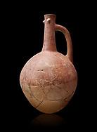Hittite pottery jug with raised eyes from Hittite capital Hattusa, Hittite  Middle  Kingdom 1650-1450 BC, Bogazkale archaeological Museum, Turkey. Black  background