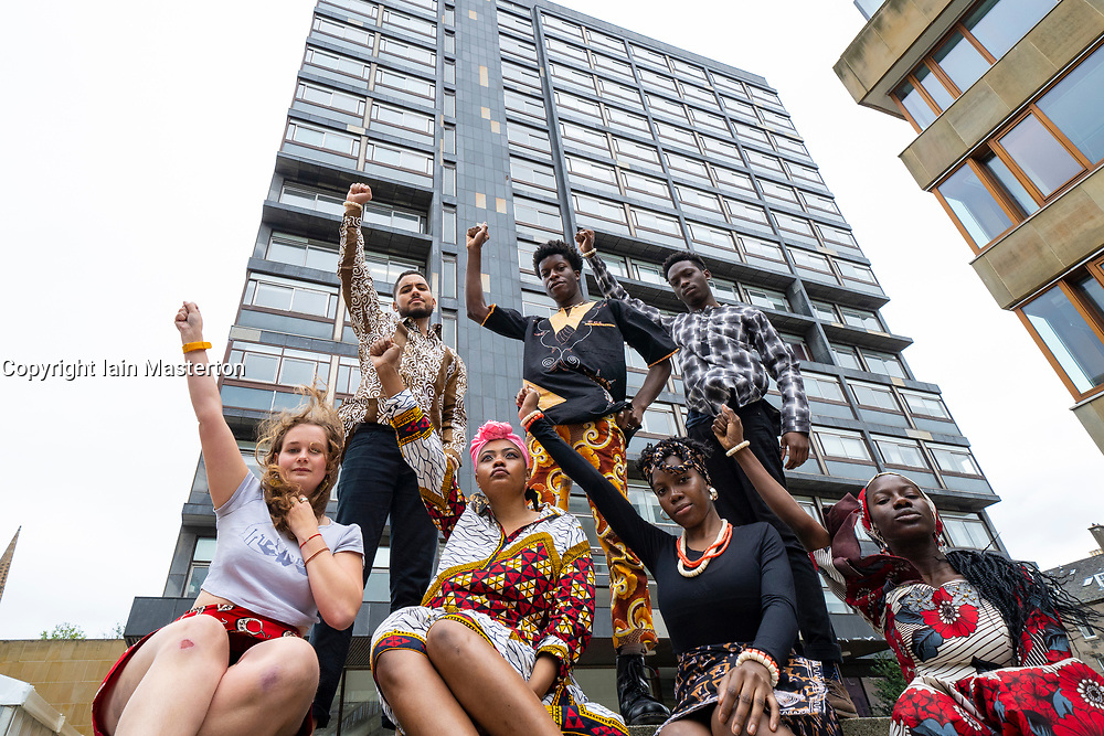 Edinburgh, Scotland, UK. 13 September, 2020. Members of the BlackEd Movement celebrate outside the building formerly known as David Hume Tower in George Square on the campus of Edinburgh University. The Movement's members are all students at Edinburgh University and petitioned the University's Diversity and Inclusion (EDI) committee to have Hume's name removed because of his historical allegedly racist views. The tower has been renamed 40 George Square. Iain Masterton/Alamy Live News