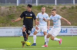 Ali Messaoud (Vendsyssel FF) presses af Anders Holst og Jonas Henriksen (FC Helsingør) under kampen i 1. Division mellem FC Helsingør og Vendsyssel FF den 18. september 2020 på Helsingør Stadion (Foto: Claus Birch).