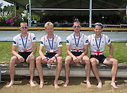 Aiguebelette, FRANCE.  GBR LM4-, left Peter CHAMBERS, Mark ALDRED, Richard CHAMBERS and Chris BARTLEY. 13:17:55  Sunday  22/06/2014. [Mandatory Credit; Peter Spurrier/Intersport-images]