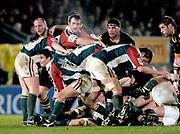 Wycombe. GREAT BRITAIN, 5th December 2004. Heineken Cup Rugby  London Wasps and Leicester Tigers,  Adams Park, ENGLAND, [Mandatory Credit; Peter Spurrier/Intersport-images].<br /> <br /> Tigers Harry Ellis clears from behind the scrum.