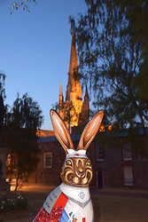 GoGoHares sculpture trail Norwich July 2018.  At the end of the summer the hares will be auctioned off for the charity Break. UK. Edith Cavell themed hare by the cathedral.