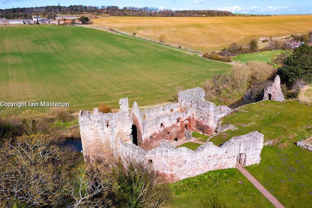 Aerial view of Hailes Castle beside River Tyne in East Lothian, Scotland, UK