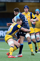 Aled Summerhill of Cardiff Blues is tackled by Wynand Olivier of Worcester Warriors - Mandatory by-line: Dougie Allward/JMP - 04/02/2017 - RUGBY - BT Sport Cardiff Arms Park - Cardiff, Wales - Cardiff Blues v Worcester Warriors - Anglo Welsh Cup