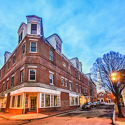 The corner of Church and Ladd Streets in Portsmouth, New Hampshire. HDR.